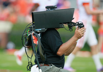 AUBURN, AL - SEPTEMBER 18:  An ESPN 3D camera is used during pregame before the Auburn Tigers face the Clemson Tigers at Jordan-Hare Stadium on September 18, 2010 in Auburn, Alabama.  (Photo by Kevin C. Cox/Getty Images)