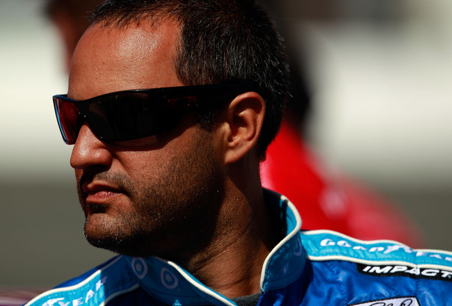 SONOMA, CA - JUNE 24:  Juan Pablo Montoya, driver of the #42 Cottonelle Chevrolet, stands on pit road during qualifying for the NASCAR Sprint Cup Series Toyota/Save Mart 350 at Infineon Raceway on June 24, 2011 in Sonoma, California.  (Photo by Tom Pennin
