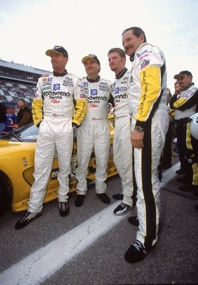 3 Feb 2001:   Dale Earnhardt, Dale Earnhardt Jr. Andy Pilgrim, Kelly Collins pose for a photo during the Rolex 24 Hours of Daytona at the International Speedway in Daytona Beach, Florida.Mandatory Credit: Jon Ferrey  /Allsport