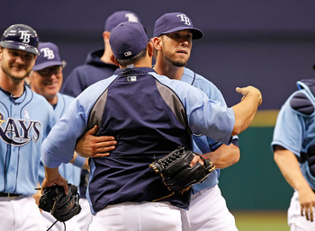 ST. PETERSBURG, FL - JUNE 19:  Pitcher James Shields #33 of the Tampa Bay Rays celebrates his complete game victory over the Florida Marlins at Tropicana Field on June 19, 2011 in St. Petersburg, Florida.  (Photo by J. Meric/Getty Images)