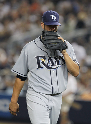 NEW YORK - JULY 16:  James Shields of the Tampa Bay Rays  leaves the field after the sixth inning after giving up two home runs against the New York Yankees on July 16, 2010 at Yankee Stadium in the Bronx borough of New York City.  (Photo by Al Bello/Gett