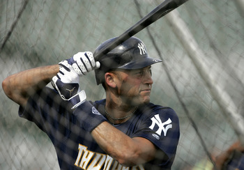 TRENTON, NJ - JULY 2: Derek Jeter #2 of the New York Yankees gets set to swing in the batting cage before the start of his minor league rehab start with the Trenton Thunder in a game against the Altoona Curve on July 2, 2011 at Mercer County Waterfront Pa