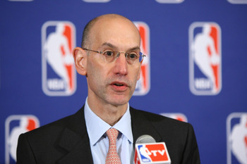 NEW YORK, NY - JUNE 30:  Adam Silver announces that a lockout will go ahead as NBA labor negotiations break down at Omni Hotel on June 30, 2011 in New York City. The NBA has locked out the players after they were unable to reach a new collective bargainin