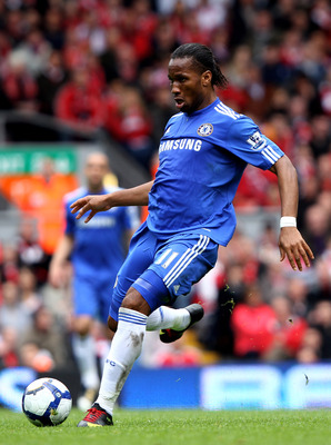 LIVERPOOL, ENGLAND - MAY 02:  Didier Drogba of Chelsea passes the ball during the Barclays Premier League match between Liverpool and Chelsea at Anfield on May 2, 2010 in Liverpool, England.  (Photo by Clive Brunskill/Getty Images)