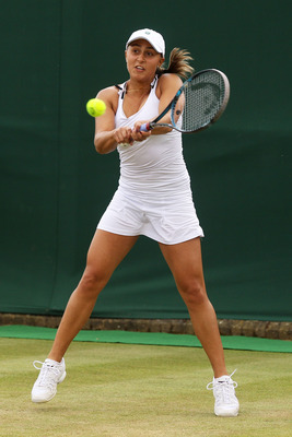 Tamira Paszek after defeating Christina McHale in the 2nd Round of Wimbledon 2011.