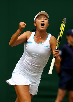 Shuai Peng after defeating Elena Baltacha in the 2nd Round of Wimbledon 2011.