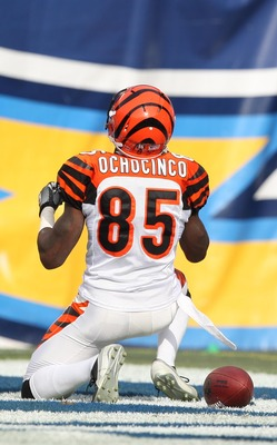 SAN DIEGO, CA - DECEMBER 20:  Wide Receiver Chad Ochocinco #85 of the Cincinnati Bengals scores a touchdown in the first half against the San Diego Chargers during the NFL game on December 20, 2009 at Qualcomm Stadium in San Diego, California.  (Photo by