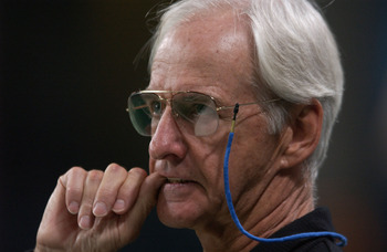11 Nov 2001:  Head coach George Seifert of the Carolina Panthers watches from the sidelines as the chances of his team winning against the St. Louis Rams game grow smaller by the second during the fourth quarter at the Dome at America's Center in St. Loui