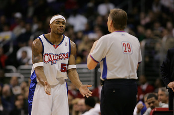 LOS ANGELES - DECEMBER 1:  Corey Maggette #50 of the Los Angeles Clippers argues with referee Steve Javie #29 during the game against the Indiana Pacers at Staples Center on December 1, 2004 in Los Angeles, California. The Clippers won 88-76.  NOTE TO USE