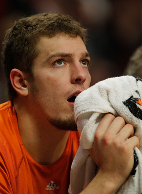 CHICAGO - FEBRUARY 16: David Lee #42 of the New York Knicks watches from the bench as his teammates take on the Chicago Bulls in the 4th quarter at the United Center on February 16, 2010 in Chicago, Illinois. The Bulls defeated the Knicks 118-85. NOTE TO