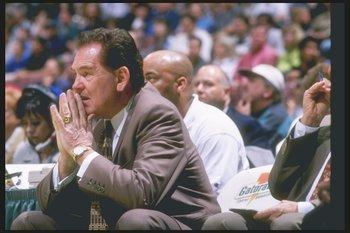 12 Apr 1997: Coach Bill Fitch of the Los Angeles Clippers watches his players during a game against the Denver Nuggets at Arrowhead Pond in Anaheim, California. The Clippers won the game 116-94.