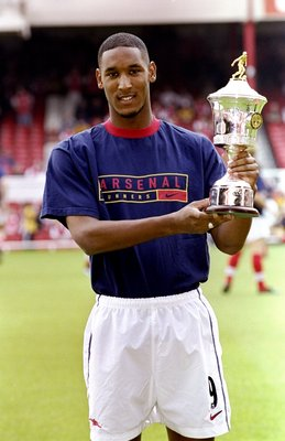 2 May 1999:  Nicolas Anelka of Arsenal holds the PFA Young Player of the Year Award before the FA Carling Premiership match against Derby played at Highbury in London, England. Arsenal won the game 1-0. \ Mandatory Credit: Ross Kinnaird /Allsport