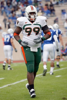 DURHAM, NC - OCTOBER 18:  Marcus Forston #99 of the Miami Hurricanes jogs off the field during the game against the Duke Blue Devils at Wallace Wade Stadium on October 18, 2008 in Durham, North Carolina.  (Photo by Kevin C. Cox/Getty Images)