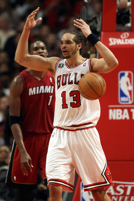 CHICAGO, IL - MAY 26:  Joakim Noah #13 of the Chicago Bulls reacts against the Miami Heat in Game Five of the Eastern Conference Finals during the 2011 NBA Playoffs on May 26, 2011 at the United Center in Chicago, Illinois. NOTE TO USER: User expressly ac