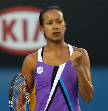MELBOURNE, AUSTRALIA - JANUARY 19:  Anne Keothavong of Great Britain celebrates a point in her second round match against Andrea Petkovic of Germany during day three of the 2011 Australian Open at Melbourne Park on January 19, 2011 in Melbourne, Australia