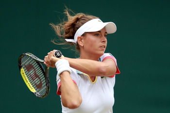 LONDON, ENGLAND - JUNE 25:  Petra Cetkovska of the Czech Republic in action during her third round match against Ana Ivanovic of Serbiain on Day Six of the Wimbledon Lawn Tennis Championships at the All England Lawn Tennis and Croquet Club on June 25, 201