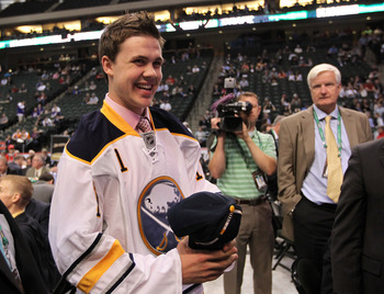 ST PAUL, MN - JUNE 25:  107th overall pick Colin Jacobs by the Buffalo Sabres smiles during day two of the 2011 NHL Entry Draft at Xcel Energy Center on June 25, 2011 in St Paul, Minnesota.  (Photo by Bruce Bennett/Getty Images)