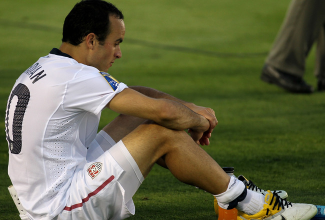 PASADENA, CA - JUNE 25:   Landon Donovan #10 of the United States waits for the award ceremony after the game with Mexico during the 2011 CONCACAF Gold Championship at the Rose Bowl on June 25, 2011 in Pasadena, California. Mexico won 4-2.  (Photo by Step