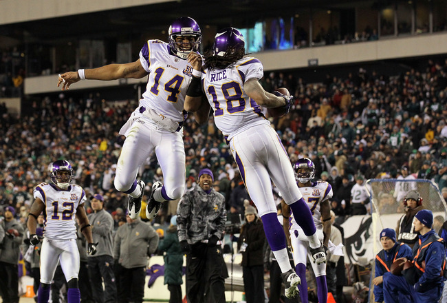 PHILADELPHIA, PA - DECEMBER 28: Joe Webb #14 and Sidney Rice #18 of the Minnesota Vikings celebrate after a play against the Philadelphia Eagles at Lincoln Financial Field on December 28, 2010 in Philadelphia, Pennsylvania. (Photo by Jim McIsaac/Getty Ima