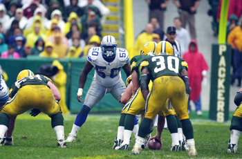 09 Sep 2001: Chris Claiborne #50 of the Detroit Lions stands in position against the Green Bay Packers during the game at Lambeau Field in Green Bay, Wisconsin. The Packers defeated the Lions 28-6. DIGITAL IMAGE. Mandatory Credit: Jonathan Daniel/Allsport