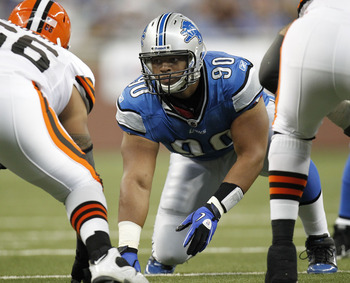 DETROIT - AUGUST 28:  Ndamukong Suh #90 of the Detroit Lions lines up while playing the Cleveland Browns in a preseason game on August 28, 2010 at Ford Field in Detroit, Michigan.  (Photo by Gregory Shamus/Getty Images)