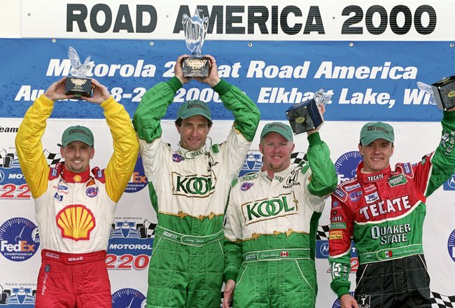20 Aug 2000:  (L-R) Kenny Brack, Barry Green, Paul Tracy 1st, and Adrian Fernandez pose with their trophies after the Motorola 220, part of the CART Fed Ex Championship Series at the Road America Raceway in Elkhart Lake, Wisconsin.Mandatory Credit: Jon Fe