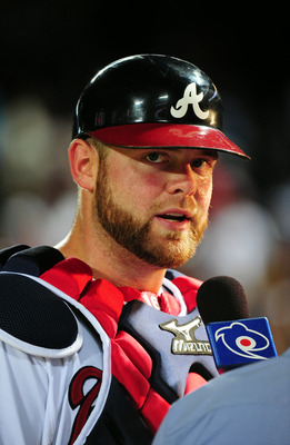 ATLANTA - JUNE 21: Brian McCann #16 of the Atlanta Braves is interviewed after the game against the Toronto Blue Jays at Turner Field on June 21, 2011 in Atlanta, Georgia. (Photo by Scott Cunningham/Getty Images)