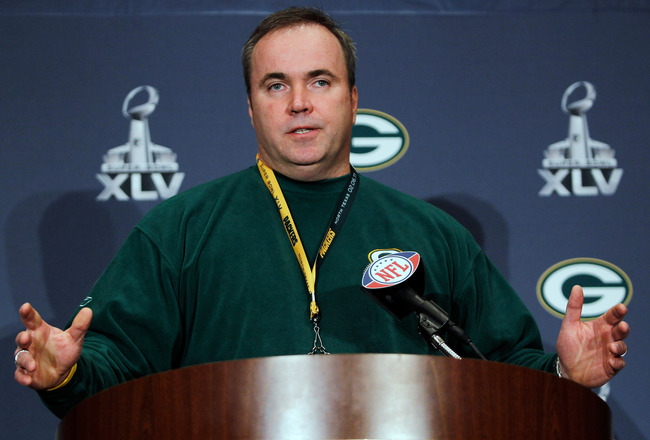 IRVING, TX - FEBRUARY 02:  Head coach Mike McCarthy of the Green Bay Packers talks to the media on February 2, 2011 in Irving, Texas. The Green Bay Packers will play the Pittsburgh Steelers in Super Bowl XLV on February 6, 2011 at Cowboys Stadium in Arlin