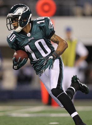 ARLINGTON, TX - DECEMBER 12:  Wide receiver DeSean Jackson #10 of the Philadelphia Eagles at Cowboys Stadium on December 12, 2010 in Arlington, Texas.  (Photo by Ronald Martinez/Getty Images)