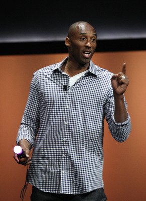 LOS ANGELES, CA - JUNE 6:  Lakers basketball player Kobe Bryant demonstrates a Lakers-based game by K2 Sports at the Sony Playstation media briefing on the eve of the Electronic Entertainment Expo (E3) on June 6, 2011 in Los Angeles, California. More than