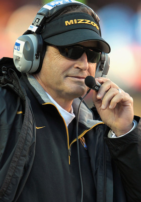 KANSAS CITY, MO - NOVEMBER 27:  Head coach Gary Pinkel of the Missouri Tigers looks on from the sideliens during the game against the Kansas Jayhawks on November 27, 2010 at Arrowhead Stadium in Kansas City, Missouri.  (Photo by Jamie Squire/Getty Images)