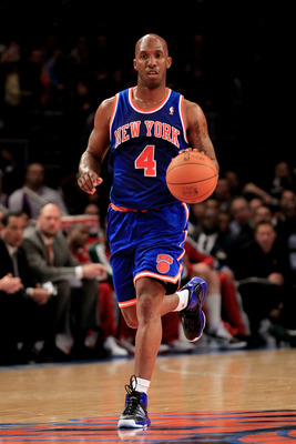NEW YORK, NY - FEBRUARY 23:  Chauncey Billups #4 of the New York Knicks on the court against the Milwaukee Bucks at Madison Square Garden on February 23, 2011 in New York City. NOTE TO USER: User expressly acknowledges and agrees that, by downloading and/