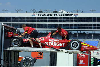 29 Apr 2001:  The Target Chip Ganassi crew push a car back into the transporter after the cancellation of the Firestone Firehawk 600, Round 3 of the CART (Championship Auto Racing Teams) FedEx Championships  Series at the Texas Motor Speedway in Fort Wort