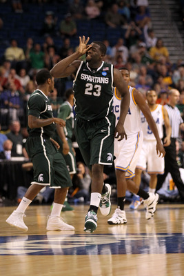TAMPA, FL - MARCH 17:  Draymond Green #23 of the Michigan State Spartans reacts after he made a 3-point shot in the second half against the UCLA Bruins during the second round of the 2011 NCAA men's basketball tournament at St. Pete Times Forum on March 1