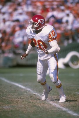 24 Sep 1989: Defensive back Deron Cherry of the Kansas City Chiefs looks on during a game against the San Diego Chargers at Jack Murphy Stadium in San Diego, California. The Chargers won the game, 21-6.