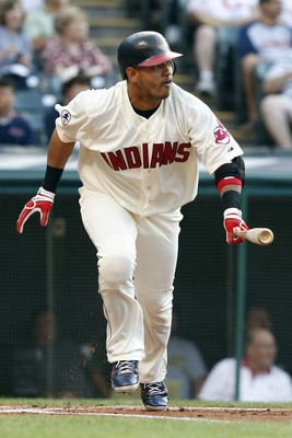 CLEVELAND, OH - JUNE 18:  Orlando Cabrera #20 of the Cleveland Indians runs to first base during the first inning against the Pittsburgh Pirates in their game on June 18, 2011 at Progressive Field in Cleveland, Ohio.  The Indians defeated the Pirates 5-1.
