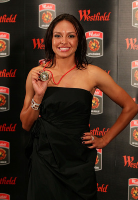 SYDNEY, AUSTRALIA - MARCH 06:  Kyah Simon of Sydney FC poses with the Julie Dolan Medal for the W-League Player of the Year award during the 2010-11 A-League Awards and W-League Awards at the Westin Hotel on March 6, 2011 in Sydney, Australia.  (Photo by