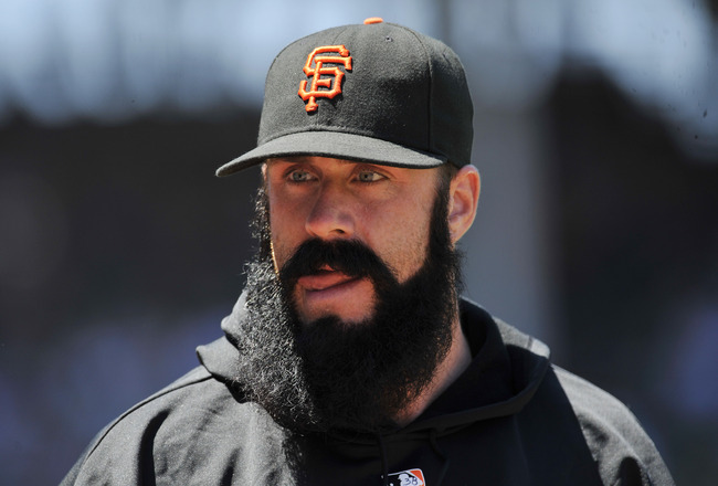 CHICAGO, IL - JUNE 28:  Brian Wilson # 38 of the San Francisco Giants walks to the bullpen against the Chicago Cubs during the first game of a doubleheader on June 28, 2011 at Wrigley Field in Chicago, Illinois. The Giants defeated the Cubs 13-7. (Photo b