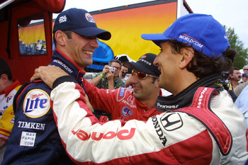 23 Jun 2001:  Miller-Lite Team Rahal driver Max Papis (L) celebrates his pole position with Tony Kanaan (C) and Alex Zanardi (R) for the Freightliner G.I. Joe's 200, round 8 of the CART (Championship Auto Racing Teams) FedEx Championship Series at the Por