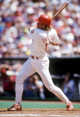 Philadelphia Phillies catcher Darren Daulton in action at the plate. Mandatory Credit: Jeff Hixon/ALLSPORT