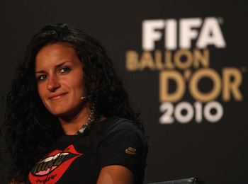 ZURICH, SWITZERLAND - JANUARY 10:  Fatmire Bajramaj  of Germany during the press conference ahead of the FIFA Ballon d'or Gala at the Zurich Kongresshaus on January 10, 2011 in Zurich, Switzerland.  (Photo by Michael Steele/Getty Images)