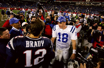 FOXBORO, MA - NOVEMBER 07:  Peyton Manning #18 of the Indianapolis Colts shakes hands with Tom Brady #12 of the New England Patriots after the Colts defeated the Patriots, 40-21 at Gillette Stadium on November 7, 2005 in Foxboro, Massachusetts.  (Photo by