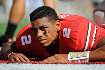 COLUMBUS, OH - SEPTEMBER 18:  Terrelle Pryor #2 of the Ohio State Buckeyes stretches before a game against the Ohio Bobcats at Ohio Stadium on September 18, 2010 in Columbus, Ohio.  (Photo by Jamie Sabau/Getty Images)