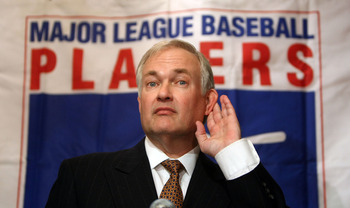 NEW YORK - DECEMBER 13: Major League Baseball Players Association Executive Director Donald M. Fehr speaks to the media after former Senator George J. Mitchell released his committee's findings on the steroids investigation December 13, 2007 in New York C
