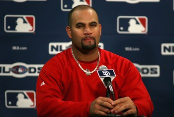 SAN DIEGO - OCTOBER 05:  Albert Pujols #5 of the St. Louis Cardinals speaks during a press conference after Game Two of the National League Division Series against the San Diego Padres on October 5, 2006 in San Diego, California.  The Cardinals defeated t