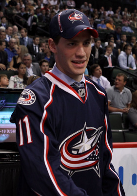 ST PAUL, MN - JUNE 25:  Boone Jenner, drafted 37th overall by the Columbus Blue Jackets, looks on during day two of the 2011 NHL Entry Draft at Xcel Energy Center on June 25, 2011 in St Paul, Minnesota.  (Photo by Bruce Bennett/Getty Images)