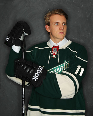 ST PAUL, MN - JUNE 24:  (EDITORS NOTE: Image has been digitally altered.) 10th overall pick Jonas Brodin by the Minnesota Wild poses for a photo portrait during day one of the 2011 NHL Entry Draft at Xcel Energy Center on June 24, 2011 in St Paul, Minneso