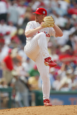 PHILADELPHIA - APRIL 18:  Randy Wolf #43 of the  Philadelphia Phillies pitches against the Montreal Expos at Citizens Bank Park on April 18, 2004 in Philadelphia, Pennsylvania.  The Phillies defeated the Expos 5-4. (Photo by Jamie Squire/Getty Images)