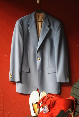 PHOENIX - JULY 28:  A blue coat, hung in honor of the Phillies late broadcaster Harry Kalas, during the major league baseball game against the Arizona Diamondbacks at Chase Field on July 28, 2009 in Phoenix, Arizona. The Phillies defeated the Diamondbacks