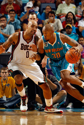 NEW ORLEANS - OCTOBER 27:  David West #30 of the New Orleans Hornets drives the ball against the Milwaukee Bucks on October 27, 2010 in New Orleans, Louisiana.  NOTE TO USER: User expressly acknowledges and agrees that, by downloading and or using this ph
